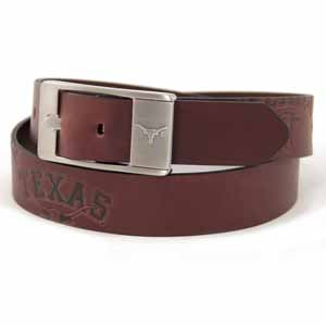 Texas Brown Leather Brandished Belt - Size 32 (For 30 Inch Waist)