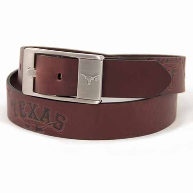 Texas Brown Leather Brandished Belt