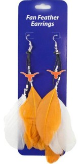 Texas Longhorns Team Color Feather Earrings