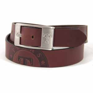 Texas Rangers Brown Leather Brandished Belt - Size 32 (For 30 Inch Waist)