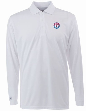 Texas Rangers Mens Long Sleeve Polo Shirt (Color: White)