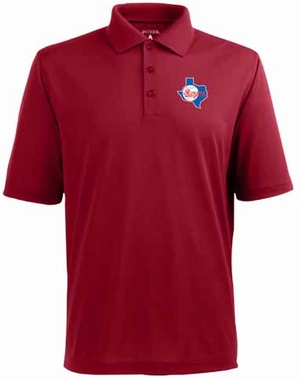 Texas Rangers Mens Pique Xtra Lite Polo Shirt (Cooperstown) (Color: Red)