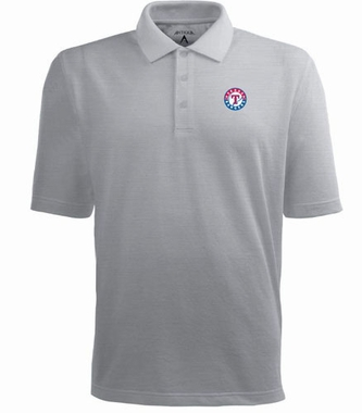 Texas Rangers Mens Pique Xtra Lite Polo Shirt (Color: Silver)
