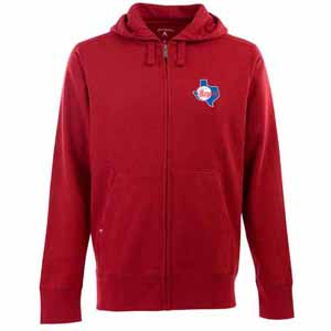 Texas Rangers Mens Signature Full Zip Hooded Sweatshirt (Cooperstown) (Color: Red) - Large