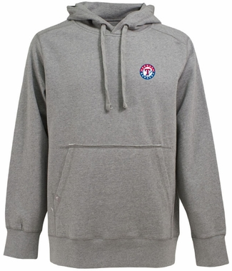 Texas Rangers Mens Signature Hooded Sweatshirt (Color: Silver)