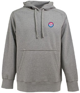 Texas Rangers Mens Signature Hooded Sweatshirt (Color: Silver) - Medium