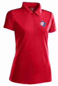 Texas Rangers Womens Pique Xtra Lite Polo Shirt (Cooperstown) (Color: Red) - X-Large