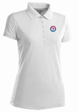Texas Rangers Womens Pique Xtra Lite Polo Shirt (Color: White) - Small