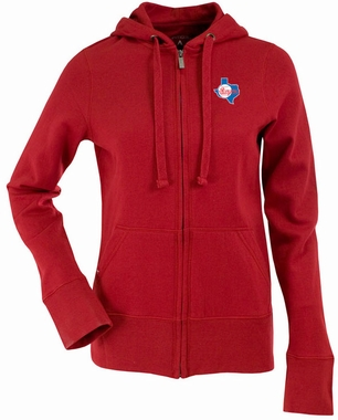 Texas Rangers Womens Zip Front Hoody Sweatshirt (Cooperstown) (Color: Red)