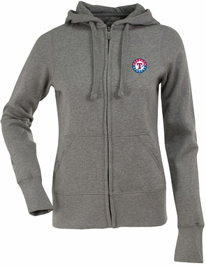 Texas Rangers Womens Zip Front Hoody Sweatshirt (Color: Gray)