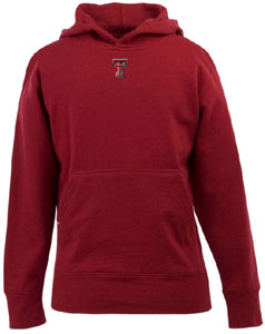 Texas Tech YOUTH Boys Signature Hooded Sweatshirt (Color: Red) - Small