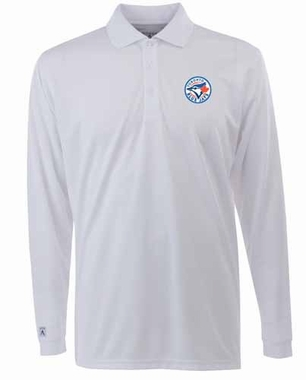 Toronto Blue Jays Mens Long Sleeve Polo Shirt (Color: White)