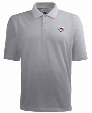 Toronto Blue Jays Mens Pique Xtra Lite Polo Shirt (Color: Silver)