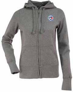 Toronto Blue Jays Womens Zip Front Hoody Sweatshirt (Color: Silver) - X-Large