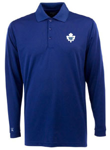 Toronto Maple Leafs Mens Long Sleeve Polo Shirt (Color: Blue) - Medium