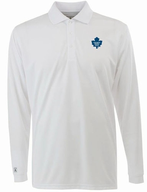 Toronto Maple Leafs Mens Long Sleeve Polo Shirt (Color: White)