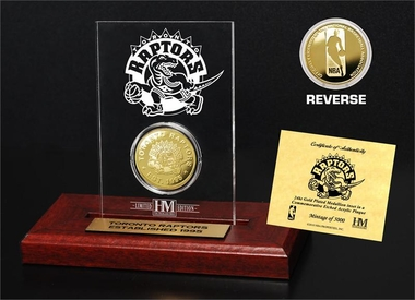 Toronto Raptors Gold Coin Etched Acrylic