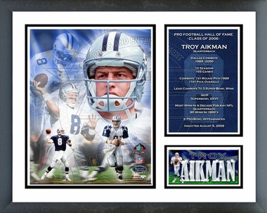 Troy Aikman - 2006 Hall Of Fame / Framed Milestones & Memories