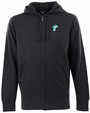 Tulane Mens Signature Full Zip Hooded Sweatshirt (Color: Black)