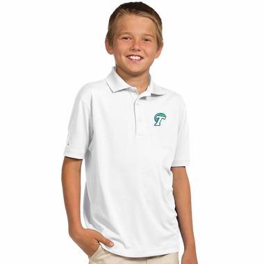 Tulane YOUTH Unisex Pique Polo Shirt (Color: White)