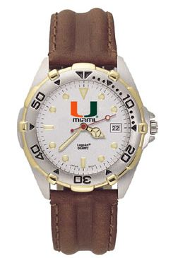 U of Miami All Star Mens (Leather Band) Watch