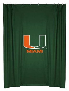 U of Miami Jersey Material Shower Curtain
