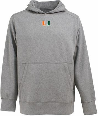 U of Miami Mens Signature Hooded Sweatshirt (Color: Gray)