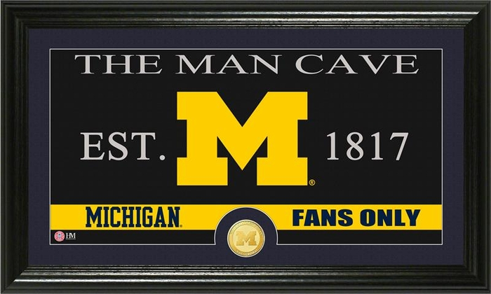 Man Cave Store In Michigan : University of michigan quot man cave bronze coin panoramic