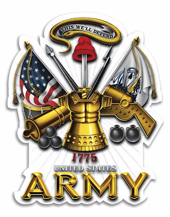 us army antique armor 4in reflective decal