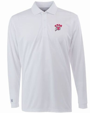 Utah Mens Long Sleeve Polo Shirt (Color: White)