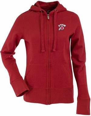 Utah Womens Zip Front Hoody Sweatshirt (Color: Red)