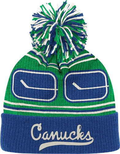 45867845ede Vancouver Canucks CCM Repeating Logo Cuffed Pom Knit Hat