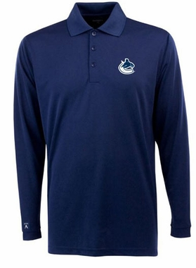 Vancouver Canucks Mens Long Sleeve Polo Shirt (Color: Navy)
