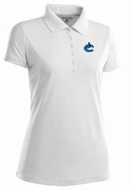 Vancouver Canucks Womens Pique Xtra Lite Polo Shirt (Color: White)