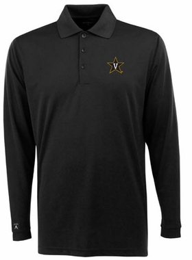 Vanderbilt Mens Long Sleeve Polo Shirt (Color: Black)