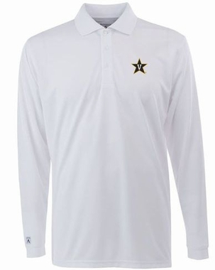 Vanderbilt Mens Long Sleeve Polo Shirt (Color: White)