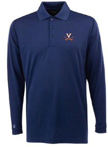 Virginia Mens Long Sleeve Polo Shirt (Color: Navy) - Medium