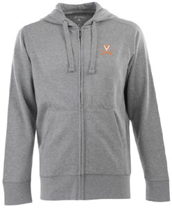 Virginia Mens Signature Full Zip Hooded Sweatshirt (Color: Gray) - Medium