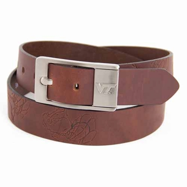 Virginia Tech Brown Leather Brandished Belt