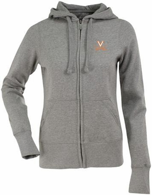 Virginia Womens Zip Front Hoody Sweatshirt (Color: Gray)