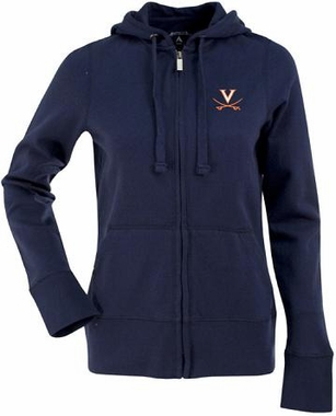 Virginia Womens Zip Front Hoody Sweatshirt (Color: Navy)