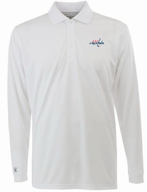 Washington Capitals Mens Long Sleeve Polo Shirt (Color: White)