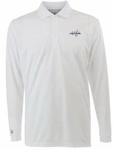 Washington Capitals Mens Long Sleeve Polo Shirt (Color: White) - XXX-Large