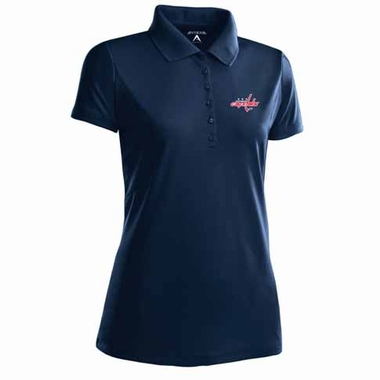 Washington Capitals Womens Pique Xtra Lite Polo Shirt (Color: Navy)