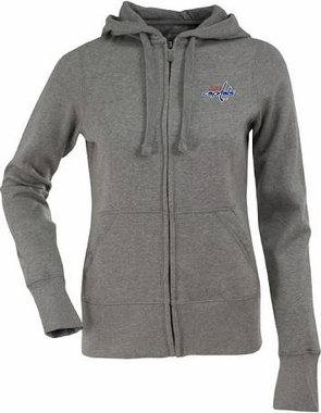 Washington Capitals Womens Zip Front Hoody Sweatshirt (Color: Gray)