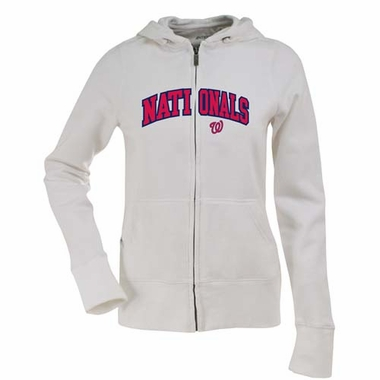 Washington Nationals Womens Applique Zip Front Hoody Sweatshirt (Color: White)