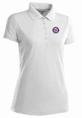 Washington Nationals Womens Pique Xtra Lite Polo Shirt (Color: White)