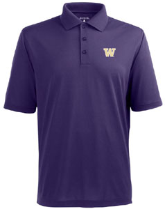 Washington Mens Pique Xtra Lite Polo Shirt (Color: Purple) - Small