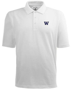 Washington Mens Pique Xtra Lite Polo Shirt (Color: White) - Small