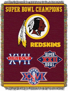 Washington Redskins Commerative Jacquard Woven Blanket